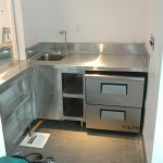 Stainless Steel Countertop with under counter shelves