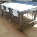 Custom Stainless Steel Mobile Island Table
