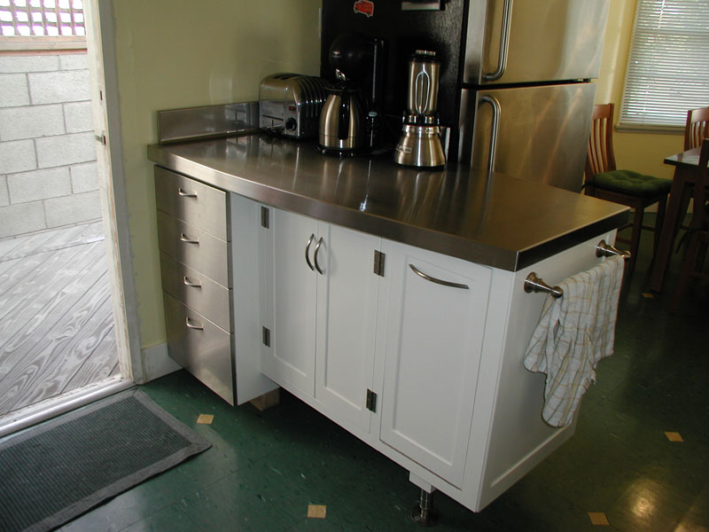 Stainless Countertop with faces.